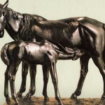 Horse with foal. Iron. 1914