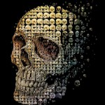 Human skull evolution (for Discover magazine). Mosaic illustration of a human skull for May 2011 cover of Discover magazine (USA)