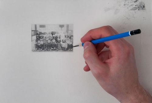 Work in progress. Hyperrealistic miniature pencil drawings by Scottish artist Paul Chiappe