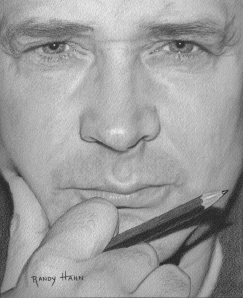 Man's portrait. Hyperrealistic pencil drawing by American self-taught artist Randy Hann