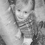 Realistic pencil portrait of a girl. Artist Randy Hann