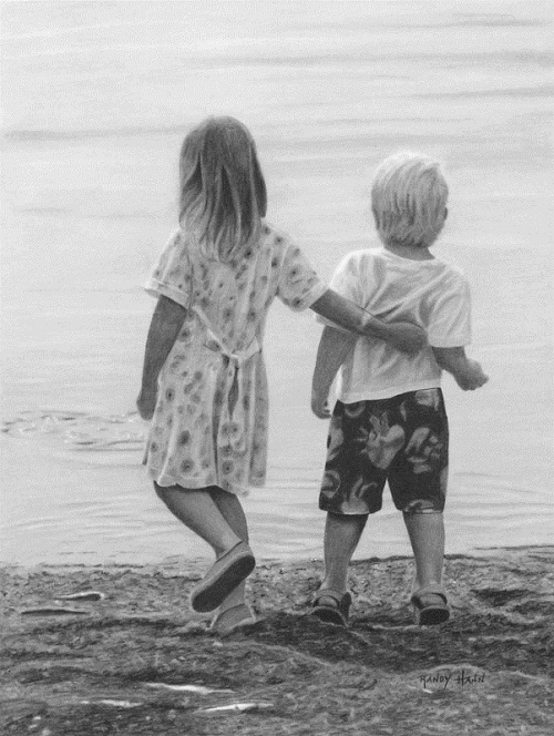 Walking on the beach. Pencil drawing by American self-taught artist Randy Hann