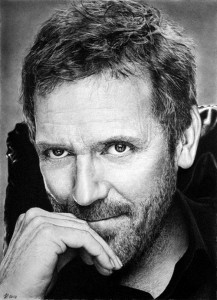 Hugh Laurie, English actor, comedian, writer, musician and director. Hyperrealistic pencil drawing by Italian artist Franco Clun