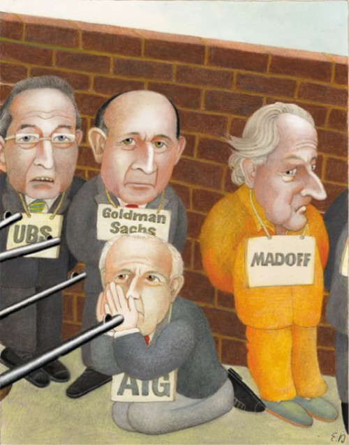 A trial. Illustration by Swiss artist Etienne Delessert