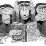 Three iconic monkeys. Illustration by Swiss self-taught artist Etienne Delessert