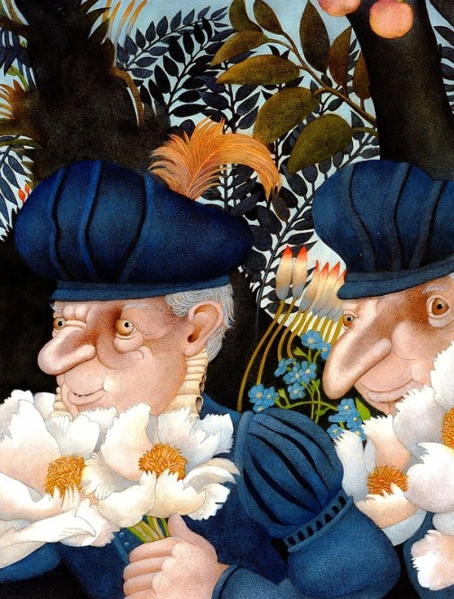 An aged couple with flowers. Fabulous Illustration by Swiss artist Etienne Delessert