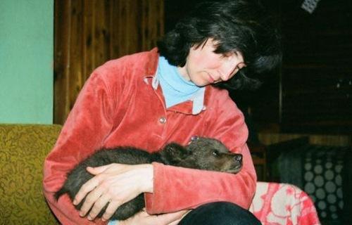 Velga Vitola and her bear