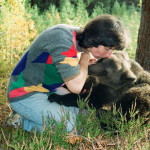 Latvian woman Velga with her favorite pet Ilzit, the bear