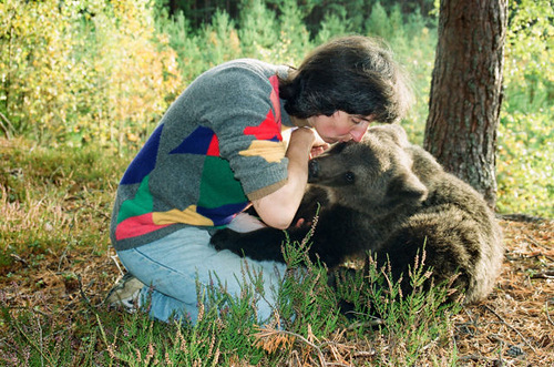 Latvian woman Velga with her favorite pet Ilzit, the bear