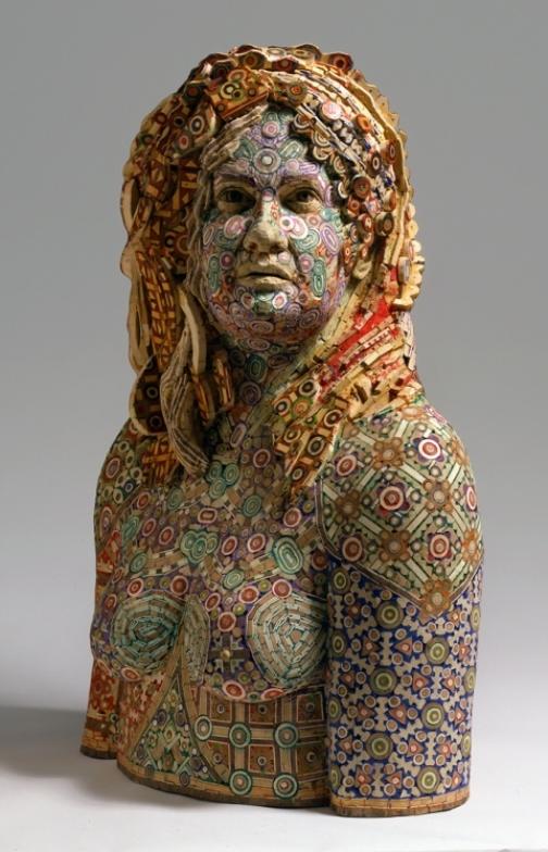 Rosemarie. 2008. Recycled wood, pigmented grout, sculpture by American artist Michael Ferris Jr