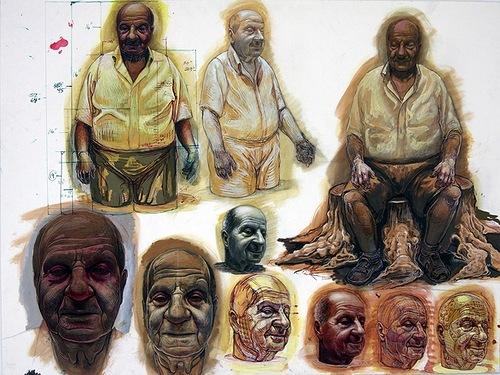 Before creating sculpture Michael Ferris Jr draws a lot of sketches