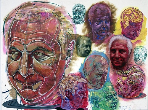 Detailed studies of a subject, drawings by Michael Ferris Jr
