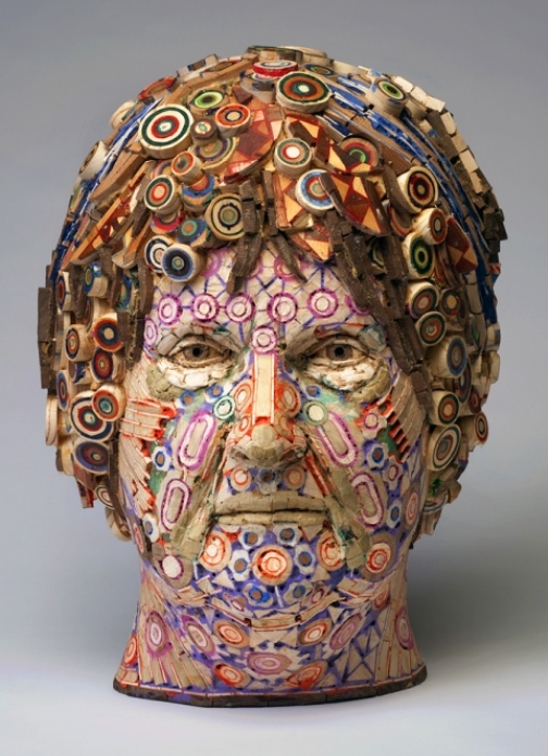 Maria. 2009. Recycled wood, pigmented grout, sculpture by American artist Michael Ferris Jr