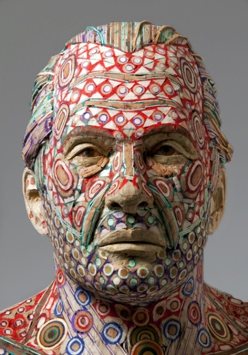 Allen. 2010. Recycled wood, pigmented grout. Sculpture by American artist Michael Ferris Jr