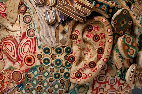 Closeup. Peter. 2010. Recycled wood, pigmented grout, sculpture by American artist Michael Ferris Jr