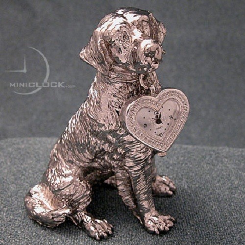 Labrador Retriver with a big heart hanging from collar. Featuring quality metal construction with rich texture and gleaming silver finish, includes a reliable quartz movement timepiece with silver sunray face and black markings