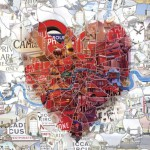 London: The Capital of Romance. Illustration for the St.Valentine's special issue of Evening Standard magazine. A heart formed by the actual map of London area.