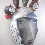One-of-a-kind masked people sculptural composition by Californian artist Peggy Bjerkan