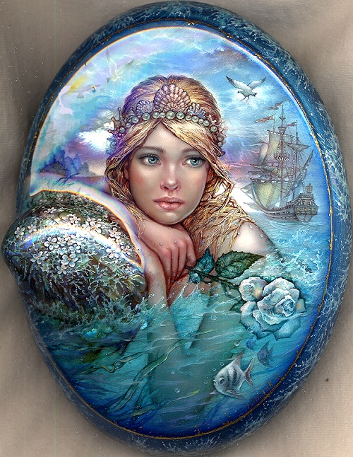 Mermaid. Laquer paintings by Sergey Knyazev