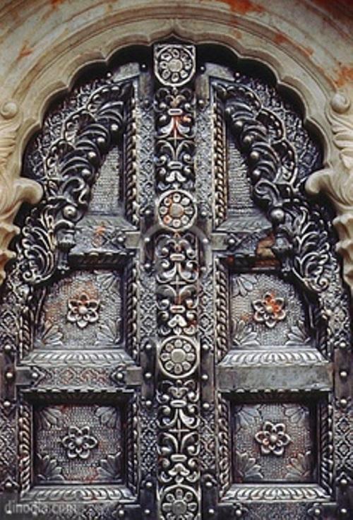 Metal door, Karni Mata Temple, Bikaner, Rajasthan, India