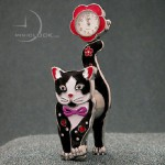 Miniature ADORABLE SPRING CAT with STONES, cast in sturdy metal with enamel finish; includes a quality quartz movement timepiece with classic white dial and metallic numerals