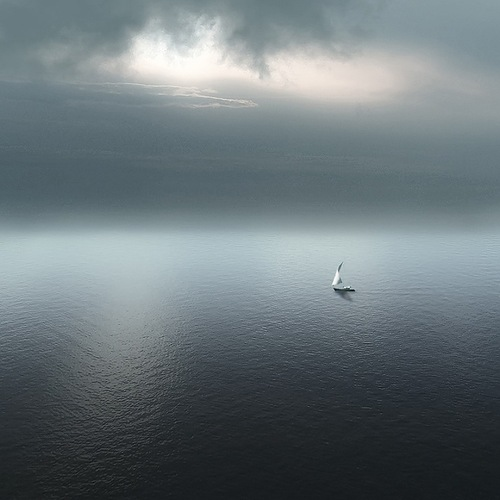 A boat in the sea. Landscape photography by Nikolay Titov