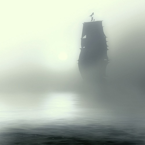 Ghost ship. Misty landscapes by photographer Nikolay Titov