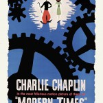"""Blue poster """"Modern Times"""" 1936 comedy film written and directed by Charlie Chaplin"""