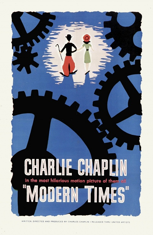 "Blue poster ""Modern Times"" 1936 comedy film written and directed by Charlie Chaplin"