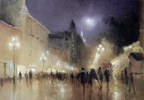City landscape. Moonlight sonata in painting by Russian artist Igor Medvedev