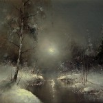 Icy river in the moonlight, painting by Russian artist Igor Medvedev