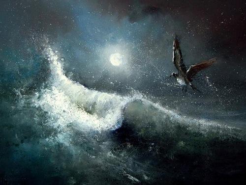 Sea waves. Moonlight sonata in painting by Russian artist Igor Medvedev
