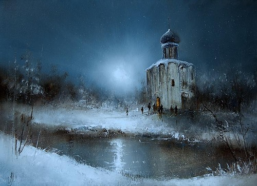 Chapel in Moonlight, painting by Russian artist Igor Medvedev
