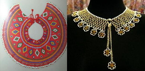 Naborushnik (Mantle, glunets) – circular decoration, front decorated with embroidery, gold or silver thread, gold thread, colored foil stripes, pearls or beads.
