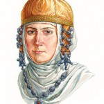 Old Russian woman in dress with kolt and 3-bead rings, XII century. According to the materials of the treasure of Old Ryazan in 1970