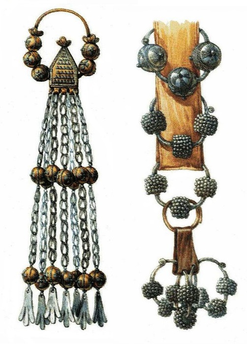 Old Ryazan suspension based on burial (left), Moravian suspension (right)