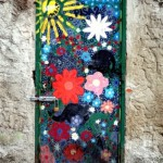 Painted flower door. Italy