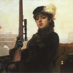 Portrait of an Unknown Woman by Ivan Kramskoi. Artists of studio Tsesler&Voichenko added a gun to the original painting