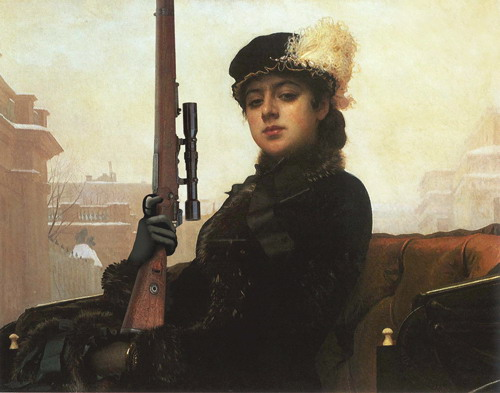Portrait of an Unknown Woman by Ivan Kramskoi. Artists of studio Tsesler&Voichenko added a gun to the original painting
