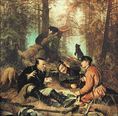 "Here, two famous paintings combined in one. First, ""Hunters at halt"" (1877, artist Painting by Perov) and ""Morning in a pine forest"" by Shishkin"