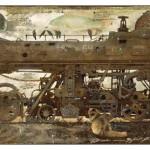 Submarine on rails. Painting by creative Belarusian studio Tsesler&Voichenko