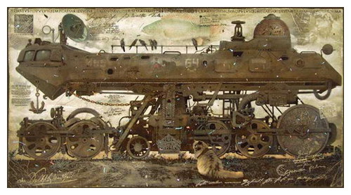 Submarine on rails. Painting by creative Belarusian studio Tsesler&Voichenko