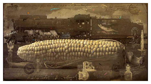 Giant corn cob. Painting by creative Belarusian studio Tsesler&Voichenko