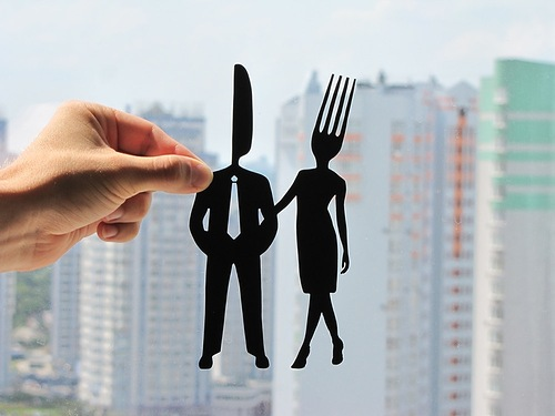 A knife and a fork. Paper silhouette by Dmitry and Julia