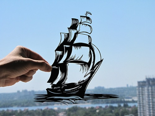 Sailed boat. Paper silhouettes by Dmitry and Julia