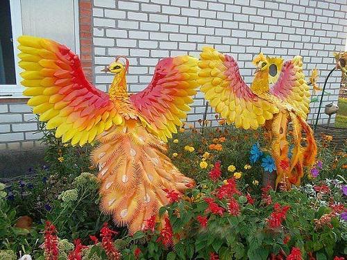 Peacocks in the garden. Bottle art