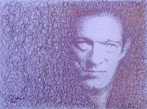 Portrait pen and pencil drawing. 2010