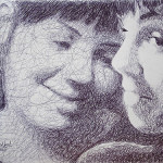 Girlfriends. Pen drawing by creative alliance 'Save L' (brothers Savelyevs)