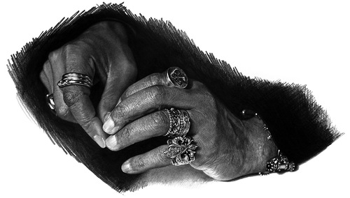 Hands of jewelry lover. Graphite on paper drawing by Canadian artist Brian Boulton