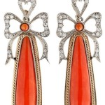 Gold earrings, coral